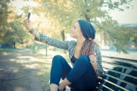 beautiful young blonde hipster woman selfie