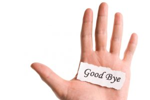 Good bye word in hand